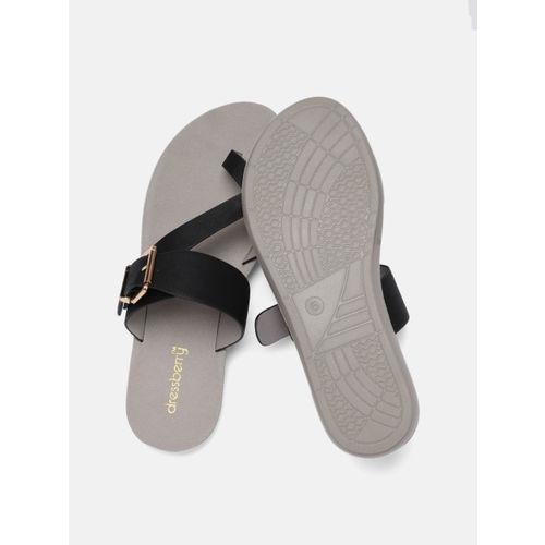 DressBerry Women Black Solid Open Toe Flats