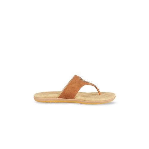 Mochi Women Tan Brown Solid Open Toe Flats
