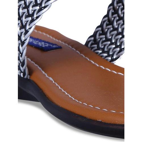 MSC Women Black Woven Design One Toe Flats