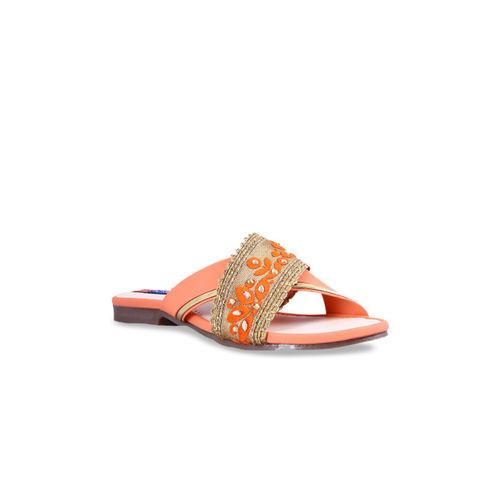 MSC Women Orange Woven Design Open Toe Flats