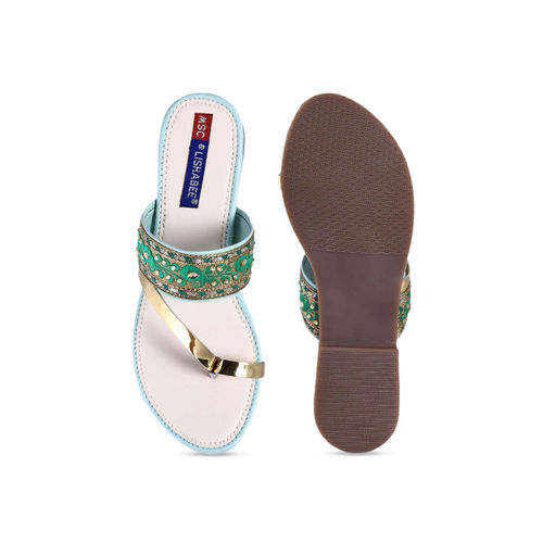 MSC Women Green Woven Design One Toe Flats