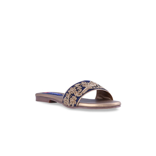 MSC Women Blue Woven Design Open Toe Flats