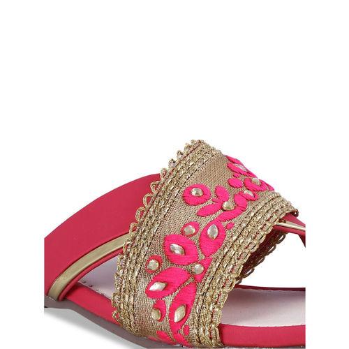 MSC Women Pink Woven Design Open Toe Flats