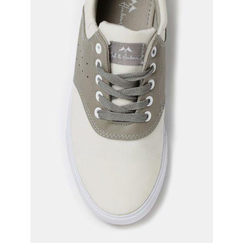 Mast & Harbour Men Off-White & Grey Colourblock Sneakers