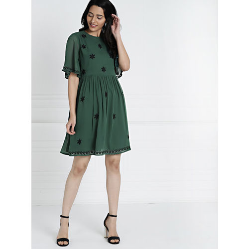 all about you from Deepika Padukone Women Green Solid Fit and Flare Dress