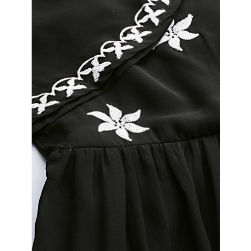 all about you Women Black Self Design Fit and Flare Dress