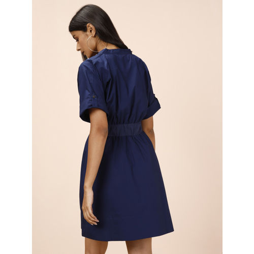 all about you Women Navy Blue Solid Fit and Flare Dress