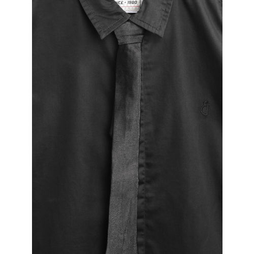 Gini and Jony Black Regular Fit Solid Party Shirt With Tie
