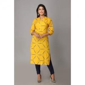 Mahageeta Yellow Rayon Casual Printed Kurti