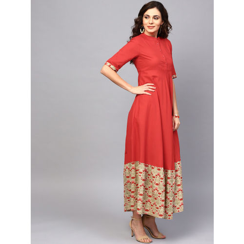 AKS Women Red Solid Maxi Dress