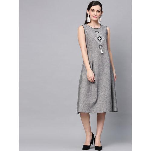 AKS Women Grey Solid A-Line Dress