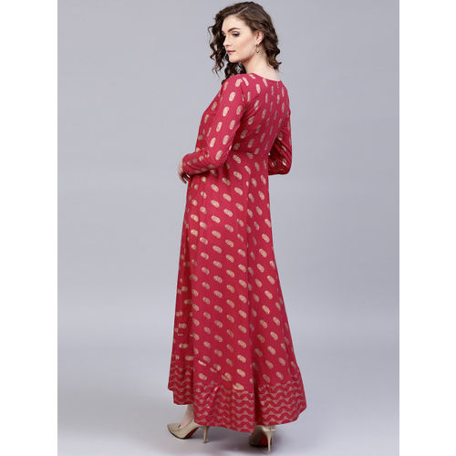 AKS Women Magenta & Gold-Coloured Printed Maxi Dress