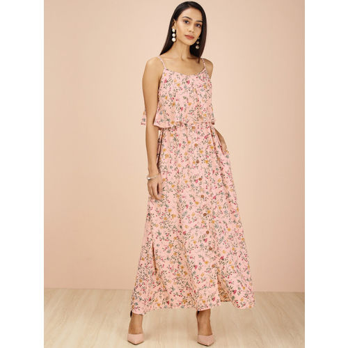 all about you from Deepika Padukone Women Peach-Coloured Printed Maxi Dress