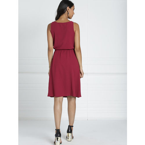 all about you Women Maroon Solid Fit and Flare Dress