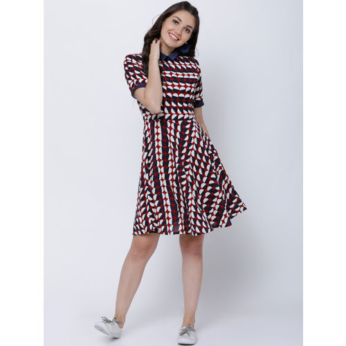 Tokyo Talkies Women Maroon Printed Fit and Flare Dress