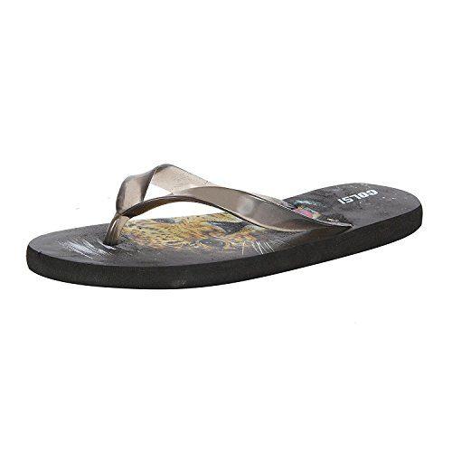 Allez Kros Men's Black Printed Flip-Flops and House Slippers