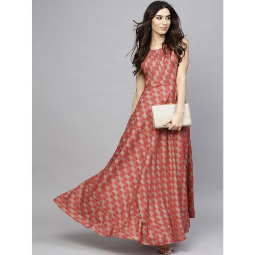 AKS Women Red Printed Maxi Dress
