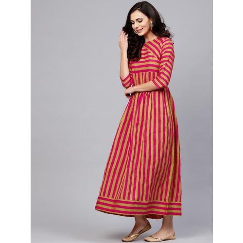 AKS Women Magenta & Green Striped Maxi Dress