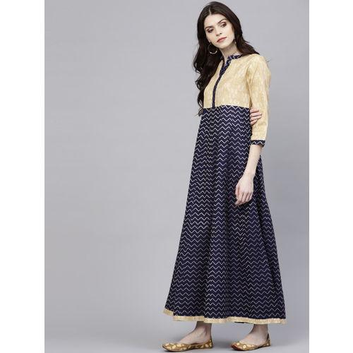 AKS Women Navy Blue & Beige Chevron Patterned Maxi Dress
