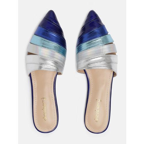 DressBerry Women Blue & Silver-Toned Colourblocked Mules