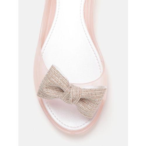 DressBerry Women Pink Solid Open Toe Flats