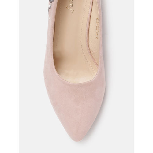 DressBerry Women Pink Suede Embroidered Pumps