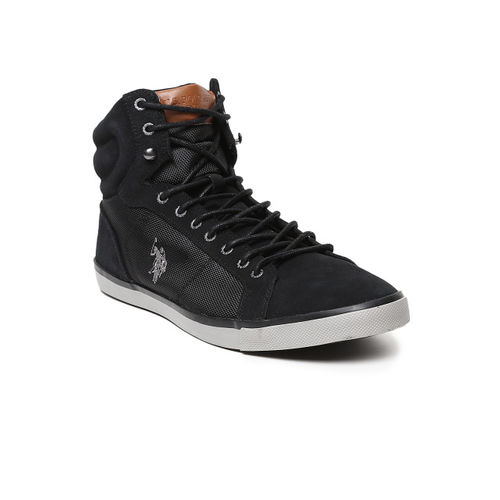 U.S. Polo Assn. Men Black Solid Leather Trevor High-Top Sneakers