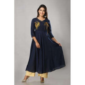 Mahageeta Blue Festive & Party Embroidered, Solid Women Kurti