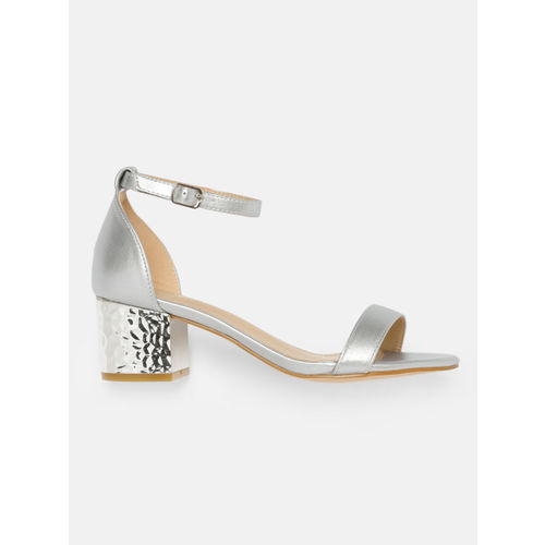 DressBerry Women Silver-Toned Solid Sandals