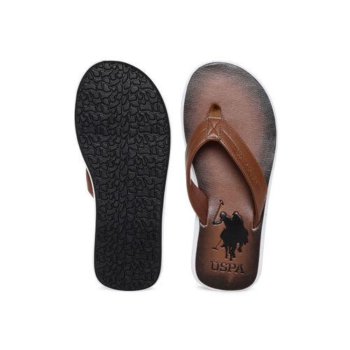 U.S. Polo Assn. Men Brown Solid Thong Flip-Flops