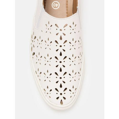 DressBerry Women White Slip-On Sneakers