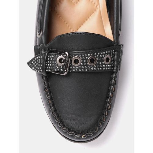 DressBerry Women Black Loafers