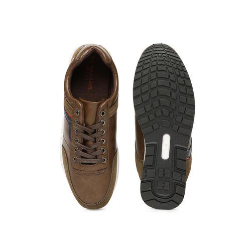 U.S. Polo Assn. Men Tan Brown Leather Sneakers