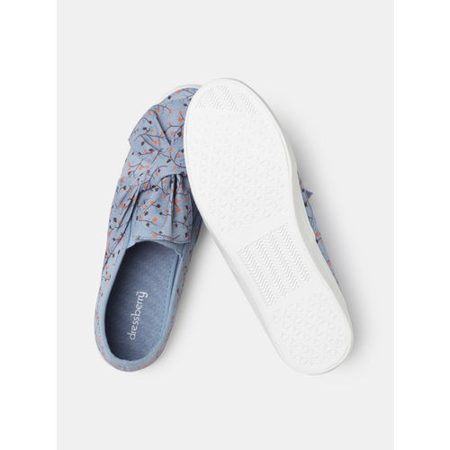 DressBerry Women Blue & Orange Printed Slip-On Sneakers