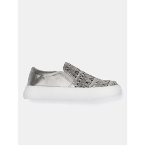 DressBerry Women Silver-Toned Embellished Slip-On Sneakers