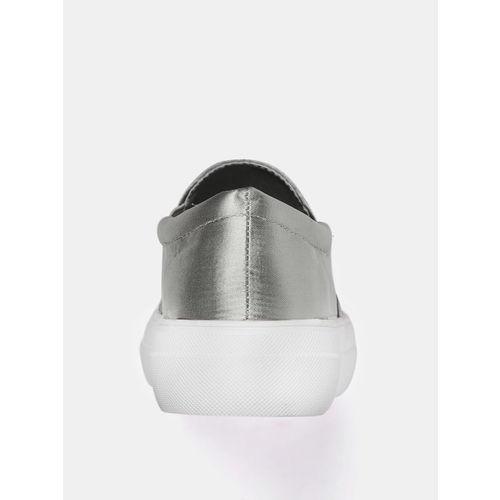 DressBerry Women Silver-Toned Embellished Slip-On Sneakers