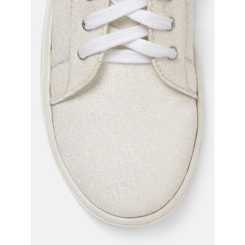 DressBerry Women Off-White Shimmer Sneakers