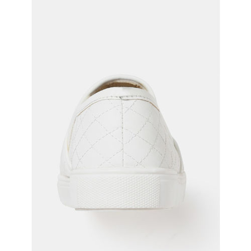 DressBerry Women White Quilted Slip-On Sneakers