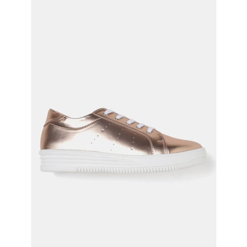 DressBerry Women Rose Gold-Toned Sneakers