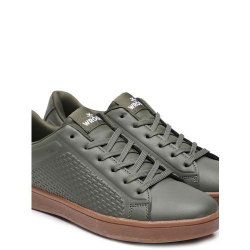 WROGN Men Olive Green Textured Sneakers