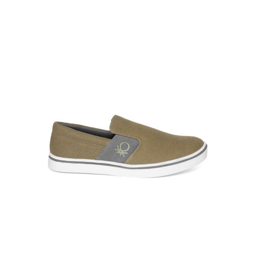 United Colors of Benetton Men Olive Brown Slip-On Sneakers