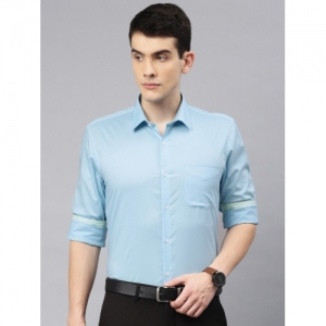 Peter England Blue Nuvo Fit Regular Fit Solid Formal Shirt