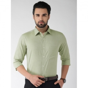 Raymond Men Green & White Slim Fit Self Design Formal Shirt