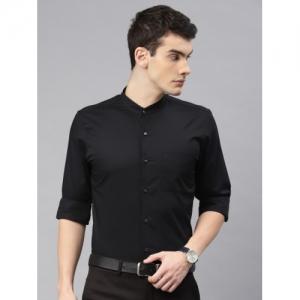 Peter England Black Cotton Slim Fit Solid Formal Shirt
