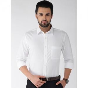Raymond White Cotton Slim Fit Self Design Formal Shirt