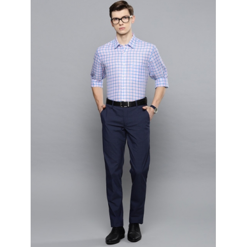 Louis Philippe Men White & Blue Slim Fit Checked Formal Shirt