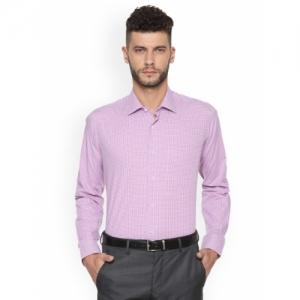 Van Heusen Men Purple Slim Fit Checked Formal Shirt