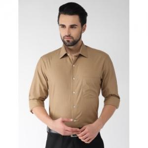 Arrow Men Khaki Solid Formal Shirt