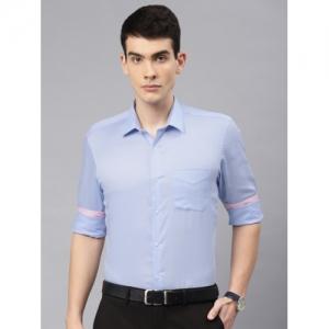 Peter England Blue Nuvo Regular Fit Solid Formal Shirt