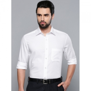 Louis Philippe Men White Classic Regular Fit Self Checked Formal Shirt